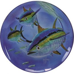Rivers Edge Guy Harvey 15in Yellow Fin Tuna Glass Platter