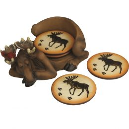 Rivers Edge Moose 4 Coaster Set