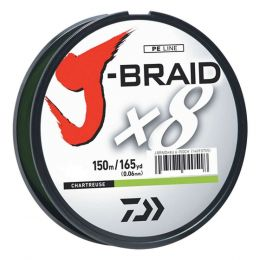Daiwa J-Braid X8 Filler Spool 150M Chartreuse 40 lb. Test