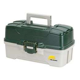 Plano 3-Tray Tackle Box w/Dual Top Access - Dark Green Metallic/Off White