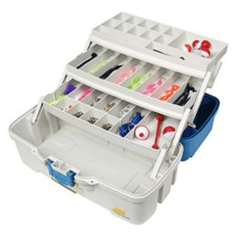 Plano Ready Set Fish Three-Tray Tackle Box - Aqua Blue/Tan