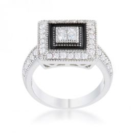 Shira 0.7ct Cz Rhodium Antique Ring (size: 10) R08452R-V01-10