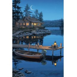 Rivers Edge LED Wall Art - Crescent Moon Cabin 24inx16in